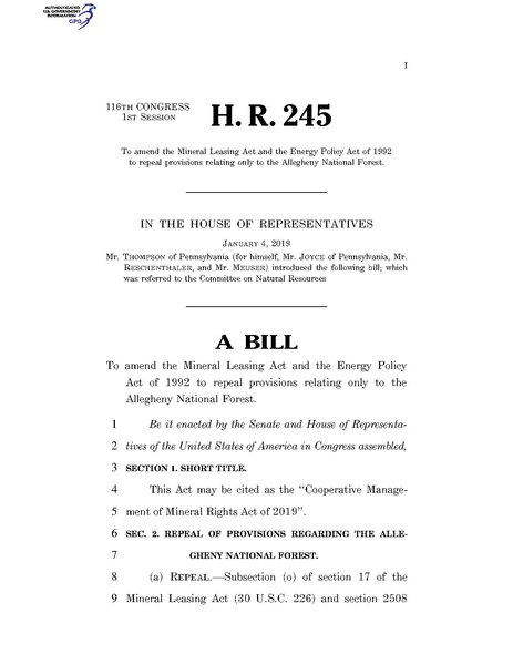 File:116th United States Congress H. R. 0000245 (1st session) - Cooperative Management of Mineral Rights Act of 2019.pdf