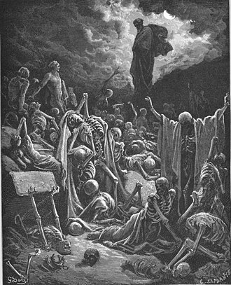 Resurrection of the dead - Ezekiel's Vision of the Valley of Dry Bones, engraving by Gustave Doré (1866)