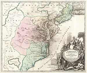 Albemarle County, North Carolina - Albemarle County appears in upper portion of Carolina in c. 1715 map by Johann Baptist Homann
