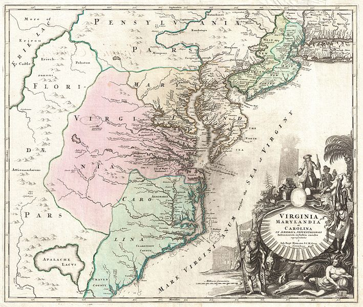 1715 Homann Map of Carolina, Virginia, Maryland and New Jersey - Geographicus - VirginiaMarylandiaCarolina-homann-1715.jpg