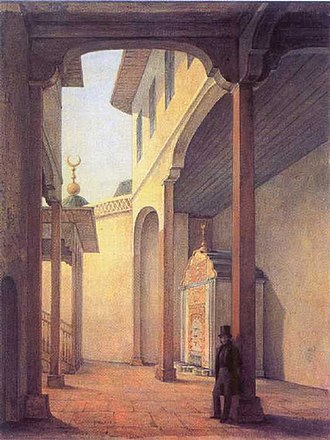 The Fountain of Bakhchisaray - Alexander Pushkin in Bakhchisaray Palace. Painting by Grigory Chernetsov