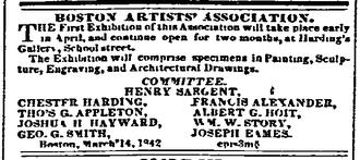 Boston Artists' Association - Image: 1842 Boston Artists Assoc Daily Atlas April 4