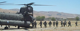 184th Infantry Regiment (United States) - Soldiers from the 184th Infantry conduct Air Assault Training at Camp Roberts in June 2010.