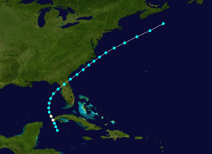 1889 Atlantic hurricane season - Image: 1889 Atlantic hurricane 2 track