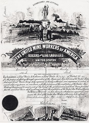 English: Corunna Coal Company 1890 Union Contract