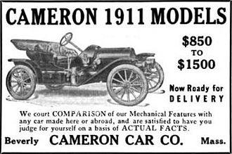 Cameron (automobile) - 1911 Cameron Advertisement