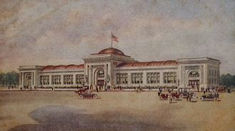 """Watkins Incorporated - The """"finest private administration building in the world"""" printed on postcard mailed in 1915"""
