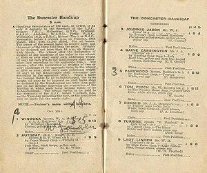 Doncaster Handicap - Image: 1933 AJC DONCASTER HANDICAP RACEBOOK P2
