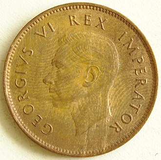 Coins of the South African pound - George VI depicted on a 1943 farthing of South Africa