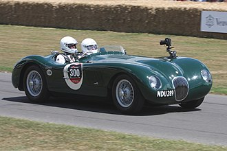 Tony Rolt - Jaguar C-Type, similar to which Rolt and Hamilton drove to victory at Le Mans