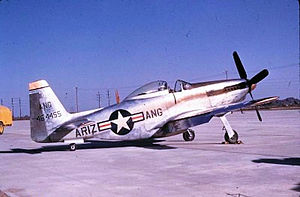 Arizona Air National Guard - Arizona Air National Guard F-51H Mustang 44-64455. The Mustang was flown by the 197th Fighter Squadron from 1946 until 1954.