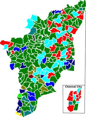 Tamil Nadu Legislative Assembly election, 1980 - Election map of results based on parties. Colours are based on the results table on the left