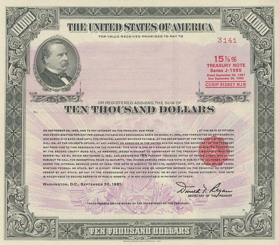 1981 $10k 15.875%25 Registered Note