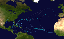 Map of the Northern Atlantic Ocean with color-codded tracks representing hurricane paths.