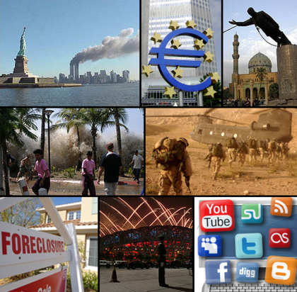 from left clockwise the world trade center on fire and the statue of liberty during the 9 11 attacks the euro enters into european currency in 2002