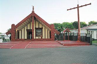 Rotorua - Māori meeting house in Rotorua, January 2001