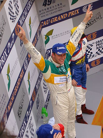 Duncan Huisman - Duncan Huisman on the podium after his victory in the 2002 Guia Race.