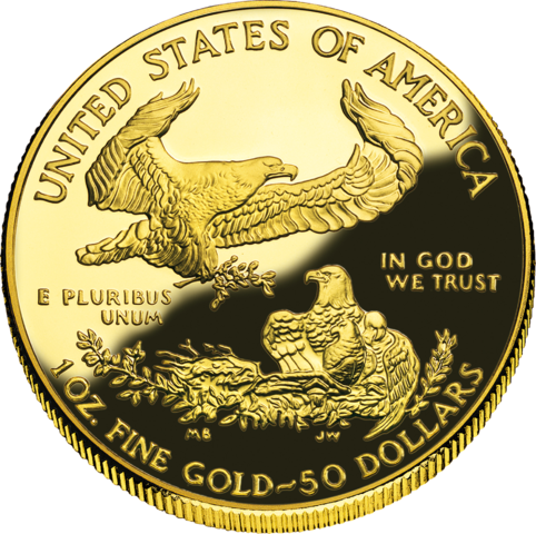 reverse side of the American Gold Eagle coins