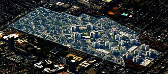 Park La Brea, Los Angeles - Aerial view highlighting the massive Park La Brea complex