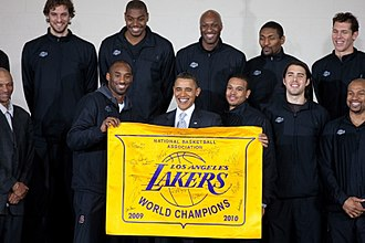 2010 NBA Finals - President Barack Obama meets with the 2010 NBA champion Los Angeles Lakers at the THEARC Boys and Girls Club in Washington, D.C.