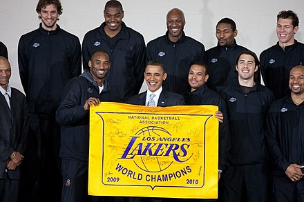 The Lakers with President Barack Obama following their 2010 NBA championship 2010 NBA Champion Los Angeles Lakers with President Obama.jpg
