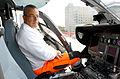 2014-04-12 (04) Der diensthabende Rettungsassistent Justin Bender von der Johanniter-Unfall-Hilfe, Pilotensitz Rettungshubschrauber Christoph 4, Medizinische Hochschule Hannover.jpg