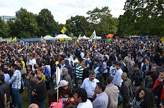 Timeline of the Iraq War (2014) - More than 10,000 Kurds in Hanover protest against the terror of ISIS in Iraq, 16 August 2014