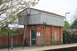 2015 at Romsey station - water tank now gents toilet.JPG