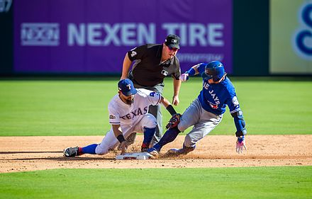 Josh Donaldson slides into second base during the first game of the 2016 ALDS. 2016 ALDS Game 1.jpg