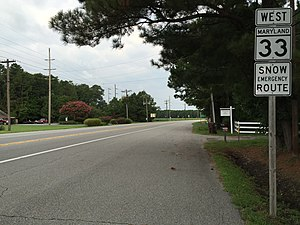 Maryland Route 33 - View west along MD 33 in Newcomb