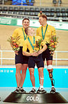 211000 - Cycling track Matthew Gray Greg Ball Paul Lake gold podium - 3b - 2000 Sydney podium photo.jpg