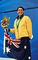 231000 - Swimming 400m freestyle S8 Priya Cooper gold medal podium - 3b - 2000 Sydney podium photo.jpg