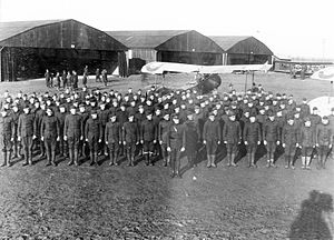 34th Bomb Squadron - Men of the 34th Aero Squadron, 2d Air Instructional Center, Tours Aerodrome, France, November 1917. (Several Salmson 2A2 reconnaissance aircraft are parked behind the formation)
