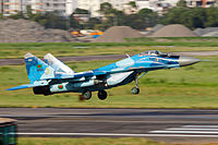 36100 Bangladesh Air Force MIG-29 Landing (8141598272).jpg