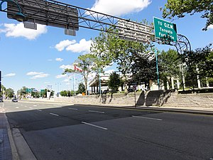 Ontario Highway 420 - Regional Route 420's terminus at Falls Avenue in Niagara Falls near the Rainbow Bridge and Clifton Hill