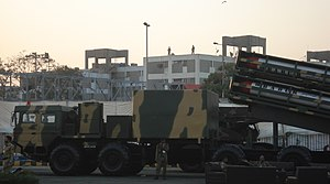 Pakistan and weapons of mass destruction - A truck-mounted launch system (TEL) armed with 4 Babur cruise missiles on display at the IDEAS 2008 defence exhibition in Karachi, Pakistan.