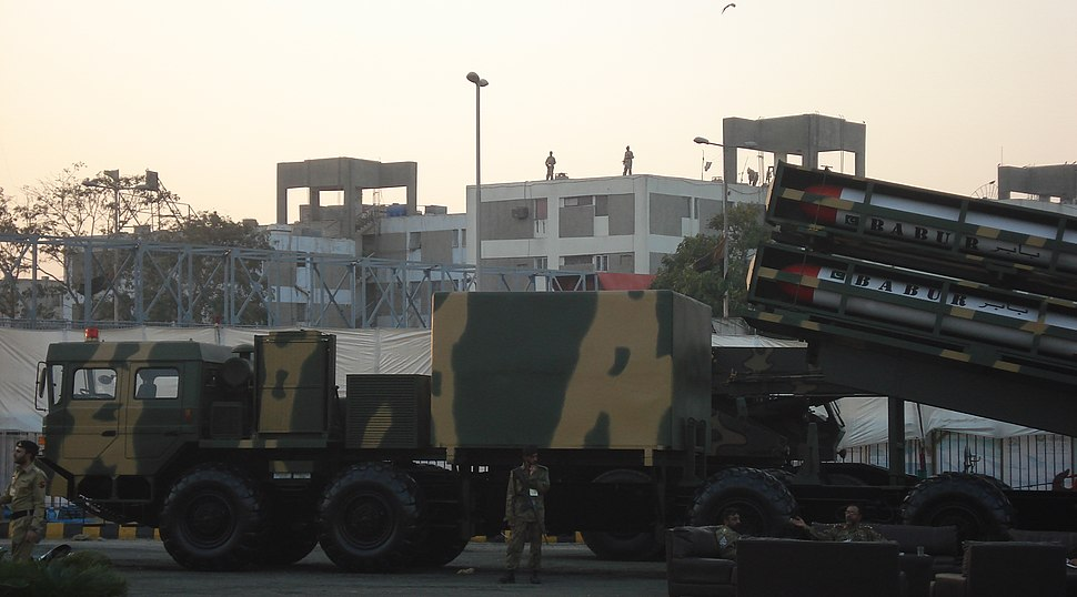4 Babur Cruise Missiles on a Truck at IDEAS 2008.jpg