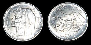 ae90a5af00 500 lire d'argento Dante Alighieri