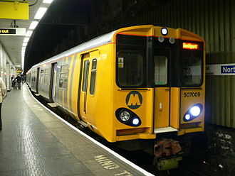 Wirral line - Class 507 unit 507009 which derailed as it approached Birkenhead North station on 19 May 2004.