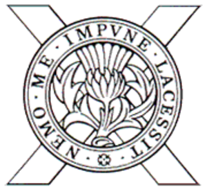 52nd Lowland Volunteers - Cap Badge of The 52nd Lowland Volunteers. It reflected the Regiment's common origins in the Territorial Battalions of the Lowland Brigade