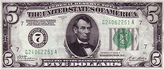 Series of 1928 (United States Currency) - A $5 Federal Reserve Note, Series of 1928A.