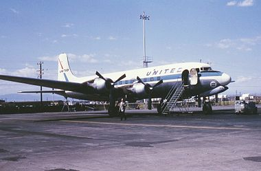 United Airlines DC-6, parked on the north ramp of the old Stapleton Airport, September, 1966