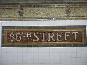 86th Street (IRT Lexington Avenue Line) - Name tablet