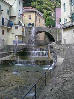 Tenza river and bridge of piazza Guerriero