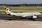A6-EYF Etihad Airways Airbus A330-243 departing to Abu Dhabi (AUH OMAA) @ Dusseldorf - Rhein-Ruhr International (DUS EDDL) 21.07.2016 (38504868750).jpg