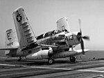 AD-5 Skyraider of VA-85 on USS Intrepid (CVA-11) on 20 April 1956.jpg