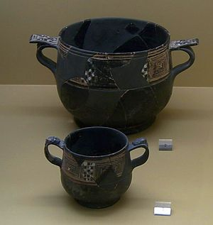 West Slope Ware - Two kantharoi in the Agora Museum at Athens, circa 225-210 BC.