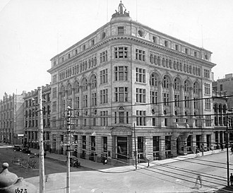 140 St Georges Terrace - The old AMP Chambers at the corner of St Georges Terrace and William Street