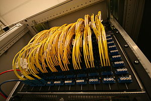Internet exchange point - An optical fiber patch panel at the Amsterdam Internet Exchange (AMS-IX)