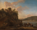 AN ITALIANATE RIVER LANDSCAPE WITH HERDERS ON A PATH.PNG